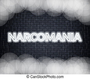 Narcomania neon lettering. Sad mood. Vector illustration