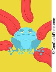 Narcotic frog. Acid Blue Frog. Narcotic reptile. Tongue...
