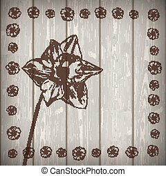 Nargis Woode Wall Flowers - Flowers on the wooden...