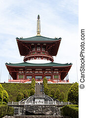 Narita, Japan - May 3, 2019 Great Peace Pagoda that is the building in Naritasan shinshoji temple. This temple is the famous place in japan.