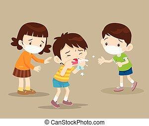 nariz, enfermo, conseguir, golpe, niños