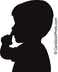 nariz, escoger, niño, el suyo, silueta