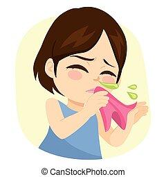 nariz, líquido, niña, estornudar