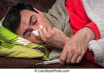 nariz, teniendo, gripe, enfermo, soplar, líquido, hombre, ...