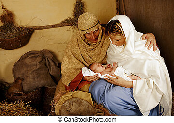 narodzenie, żyjący, gwiazdkowa scena