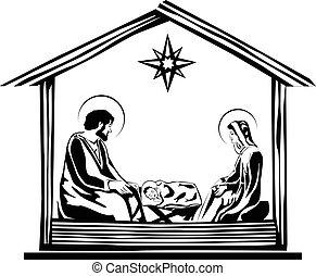 narodzenie, wektor, gwiazdkowa scena