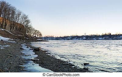 narova, primavera, presto, alba, paesaggio fiume