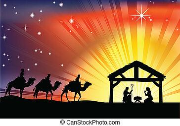 narození, křesťanský, vánoce výjev