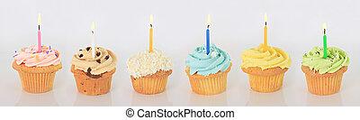 narozeniny, cupcakes., šťastný