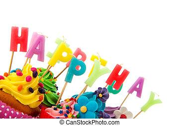 narozeniny, cupcakes, barvitý, šťastný