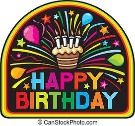 narozeniny, design, šťastný