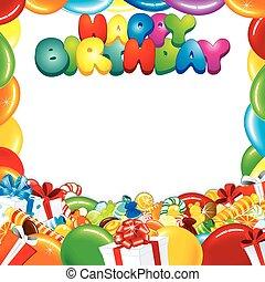 narozeniny, design, karta, šťastný