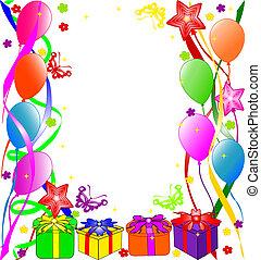 narozeniny, grafické pozadí, šťastný