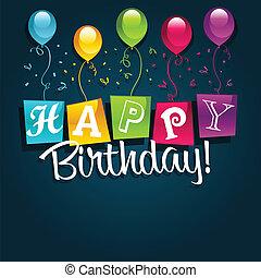 narozeniny, ilustrace, šťastný