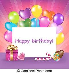 narozeniny karta, šťastný