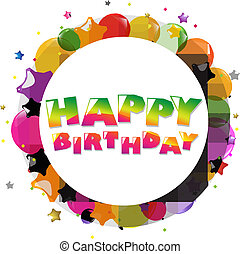 narozeniny, obláček, karta, barvitý, šťastný