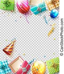 narozeniny, přepych, šablona
