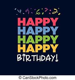 narozeniny, pohled, šťastný