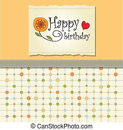 narozeniny, pohled, šablona