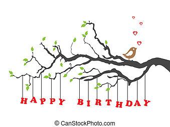 narozeniny, ptáček, karta, šťastný