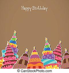 narozeniny, vektor, pohled, šťastný