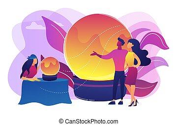narración, vector, concepto, fortuna, ilustración