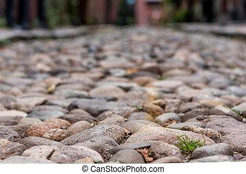 narrow, フォーカス, の, 玉石, 石, 通り