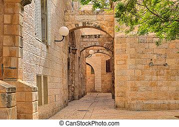narrow, ユダヤ人, stonrd, 家, jerusalem., 通り, 四分の一