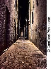 narrow, 車線, 中に, ∥, 古い 町