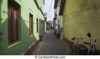 Narrow Alley at Galle Fort in Sri Lanka. UltraHD 4k footage...