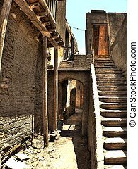 Narrow alley - Detail of narrow alley in the Coptic ...