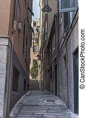 Narrow alley in Genoa city