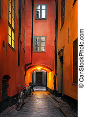 Narrow alley in Stockholm - Narrow alley in the old town of...