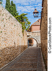 Narrow alley in the old town of Segovia, Spa
