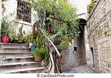 Narrow alley - Trogir, Croatia.