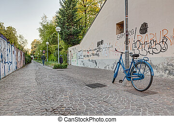 narrow alley with bicycle