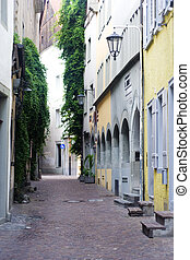 narrow alley with old bui
