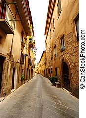 Medieval Town - Narrow Alley With Old Buildings In Typical ...