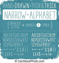 Hand drawn narrow alphabet. Uppercase tall and thin letters and symbols. Handdrawn sans serif font. Narrow doodle font on blue background. Light and bold condensed type.