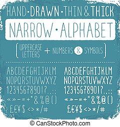 Narrow alphabet - Hand drawn narrow alphabet. Uppercase tall...