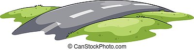 Narrow and winding road on a white background
