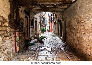 Narrow Archway in the City of Rovinj, Croatia