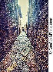 narrow, backstreet, 中に, トスカーナ