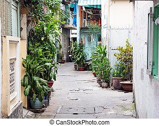 Narrow backstreet in Ho Chi Minh City, Vietnam