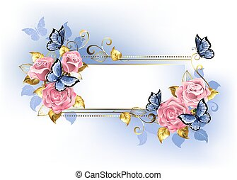 Narrow banner with pink roses