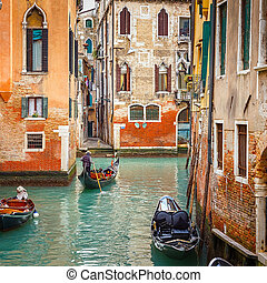 Canal in Venice - Narrow Canal in Venice, Italy