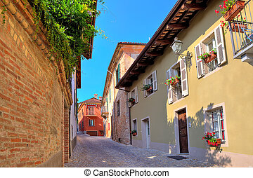 Narrow cobbled street in town of Guarene, Italy.