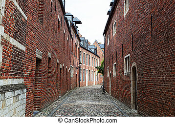 Narrow cobblestone street in a medieval quarter of the city...