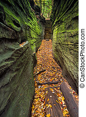 Narrow Crevice - A narrow, natural crevice in the rock is ...