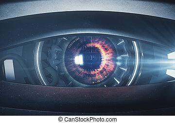 Narrow cyber eye. Close up. 3D Rendering